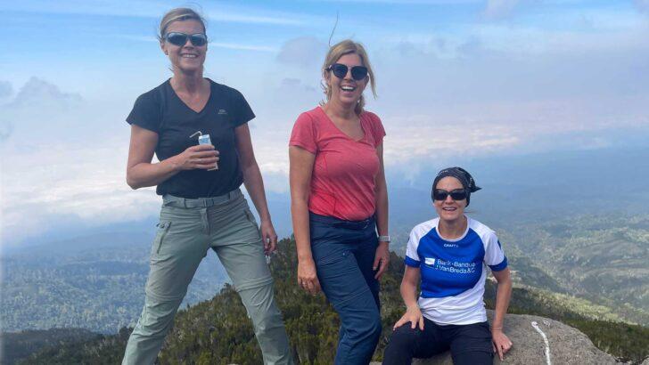 Three ladies on a mountain